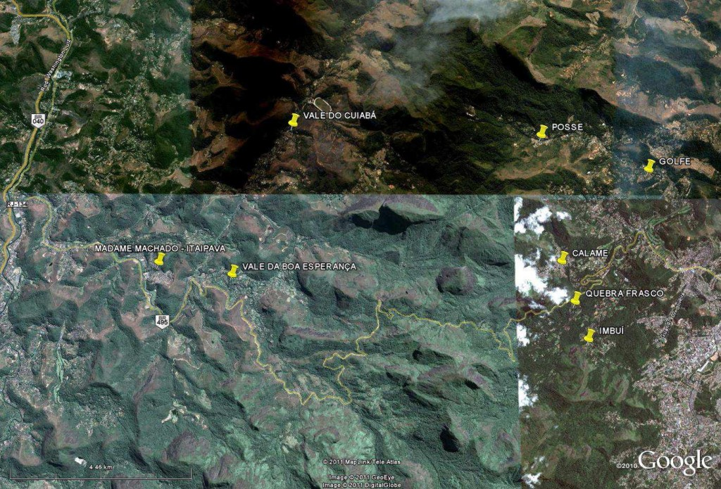 Mapa do Google Earth sobre a região mais afetada de Itaipava e Teresópolis